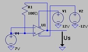 Tension d'entrée : 7V, tension de sortie : 4.5V