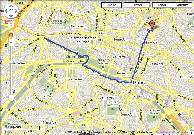 Ittinéraire de promenade conseillé à 2h du matin